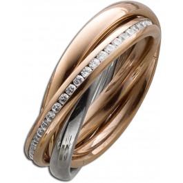 Trinity 3 Ringe ineinander Stahlring Bicolor Rose Silber farben beweglich weisse Zirkonia Toyo Yamamoto