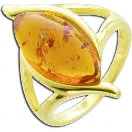 Bernsteinring - Sterling Silber 925 gelbvergoldet