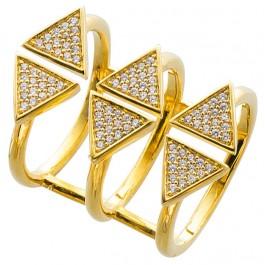 Offener Ring Sterling Silber 925 vergoldet Zirkonia