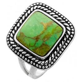 Ring Silberring Silber 925 Türkis Edelstein grün Gold Einlage