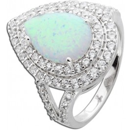 Ring Silber 925 synth Opal 40 Zirkonia