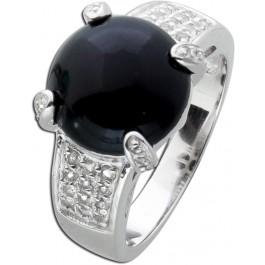 Onyx Ring schwarzer Edelsteinring Sterling Silber 925 Cabochon weisse Topasen