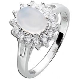Edelstein weiß Ring Silber 925 Chalcedon Cabochon oval Zirkonia