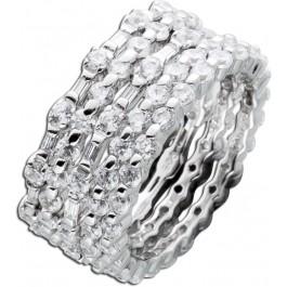Memoryring Damen Silber 925 klare weisse Zirkonia Ringset 5-teilig Silber Schmuck
