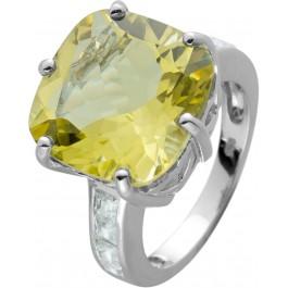 Limonenquarz Ring Silber 925 Edelstein Klare Zirkonia