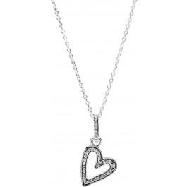 Pandora Halskette 398688C01 Sparkling Freehand Heart 50cm Herzanhänger Silber 925 klare Zirkonia