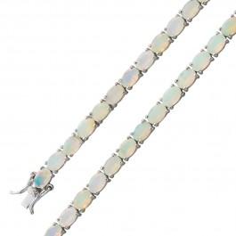 Opal Armband Silber 925 blau gelb schimmernd ethiopisch