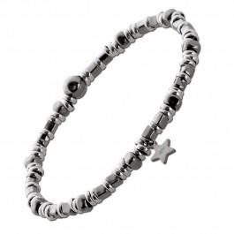 Dehnbares Stern Armband Silber 925 teils rose vergoldet geschwärzt Silberkugeln Damen