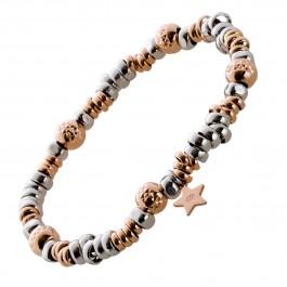 Dehnbares Stern Armband Silber 925 teils rose vergoldet geschwärzt Silberplättchen/Kugeln Damen
