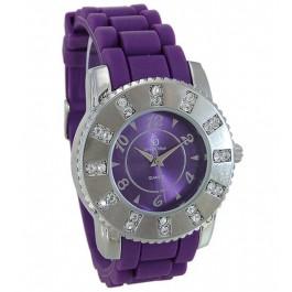 Trendige Uhr von Chrystal Blue mit violettem Silikonband 36 mm Durchmesser