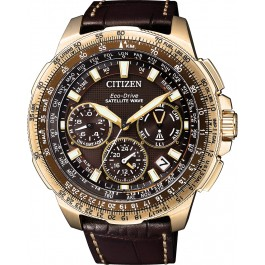 Citizen Uhren CC9023-13X Eco Drive Satellite GPS Titan IP Gold Lederband Herrenuhr