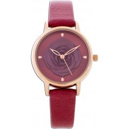 Crystal Blue  Bordeaux Rot Rosen Uhr Metall Kunstlederband Damen