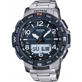 Casio Sports PRT-B50T-7ER Pro Trek Herren Uhr Quarz Analog Digital Bluetooth Kompass Höhenmesser Barometer Thermometer Silber Schwarz