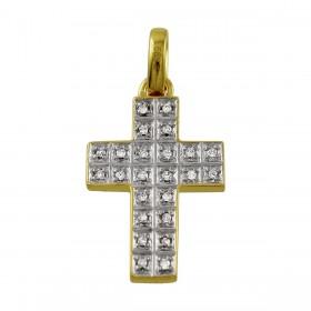 Kreuz Anhänger - Weißgold/ Gelbgold 585/-  24 Diamanten 0,12ct W/P