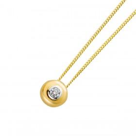 Solitär Anhänger Gelbgold Weißgold 585/- Brillant 0,10 Carat