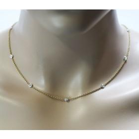 Diamant Collier Gold 585 Gelbgold 8 Brillanten 0,35ct W/P