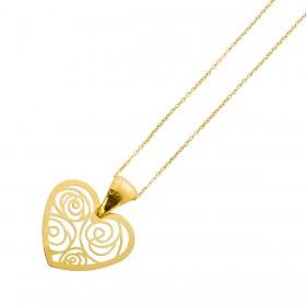 UNO A ERRE Herzkette Gelbgold 375 Ankerkette 42cm poliert Herz Rosenverzierungen