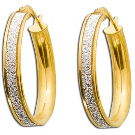 UNO A ERRE Ohrringe Goldcreolen Gelbgold 375 Diamant Look Ø25mm