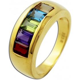Ring Gelbgold 333 Amethyst Blautopas Citrin Peridot Granat