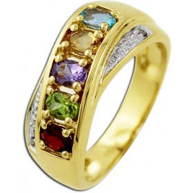 Edelsteinring - Goldring Gelbgold 585/- 2 Diamanten 0,01ct W/P Blautopas Citrin Amethyst Peridot Granat