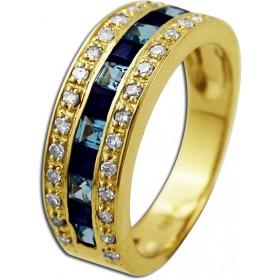 Saphirring - Goldring Gelbgold 585/- Blautopas 28 Diamanten 0,27ct W/P