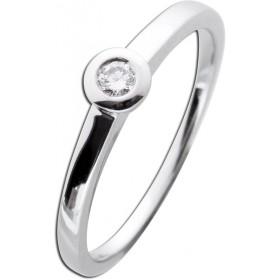 Verlobungsring Diamant Zargenfassung Weißgold 585 - 1 Brillant 0,10ct TW Lupenrein