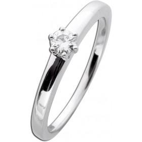 Diamantring Verlobungsring Weißgold 585 - 1 Brillant 0,15ct TW / Lupenrein Krappenfassung