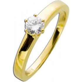 Damenring Gelbgold 585 - 1 Diamant 0,30ct TW / Lupenrein Brillantschliff Krappenfassung