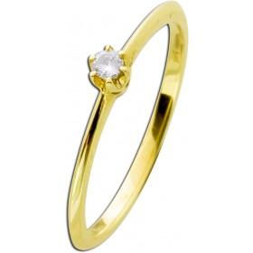 Verlobungsring Gelbgold 585 Brillant 0,05ct W/SI Krappenfassung