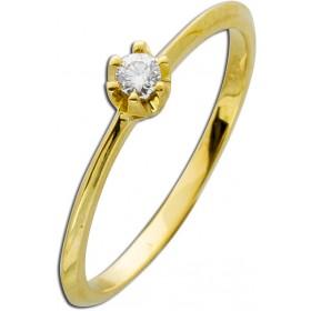 Verlobungsring Gelbgold 585 Brillant 0,10ct W/SI