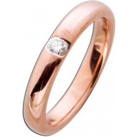 Ring  in  Rotgold 585/-  poliert mit 1 Brillanten 0,10ct