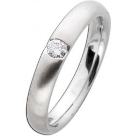 Damenring Weißgold 585 mattiert - Diamant im Brillantschliff  0,10ct W/SI