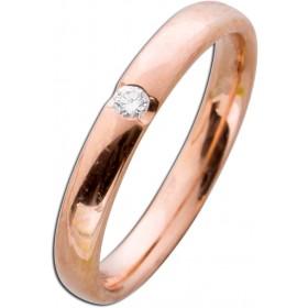 Rotgoldring 585 poliert Diamant 0,05ct W/SI Brillantschliff