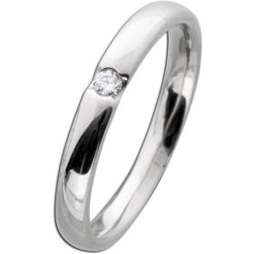 Weißgoldring 585 poliert 1 Diamant 0,05ct W/SI Brillant Schliff Verschnittfassung