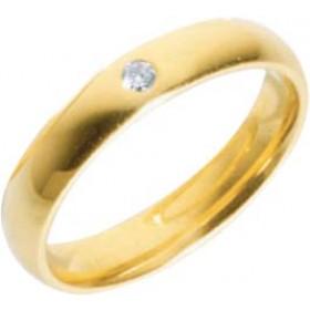 Trauring in Gelbgold 750/-, mit echtem Brillant 0,05 Carat W/SI, Breite 4,0mm, Stärke 1,7mm. Die Gravur der Trauringe sowie das Etui erhalten Sie kostenlos und bei diesen einfarbigen Trauringen - Eheringen ist auch der kostenlose Auffrischungsservice bein