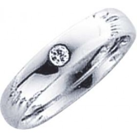 Trauring in Weißgold 750/-, Brillant 0,05 ct W/SI, Breite 4,0mm, Stärke 1,7mm, der Ring ist hochglanz poliert, die Gravur der Trauringe sowie das Etui erhalten Sie kostenlos und bei diesen einfarbigen Trauringen - Eheringen ist auch der kostenlos