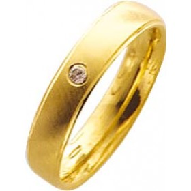 Trauring,Ehering in Gelbgold 8k 333/-,mit echtem Brillant 0,03ct W/SI, Breite 4,0mm, Stärke 1,3mm die mitte ist mattiert am rand ist jeweils 1/2 mm hochglanzpoliert, innen natürlich für den tragekomfort bombiert(leichtgerundet) in feiner Trauringqualität