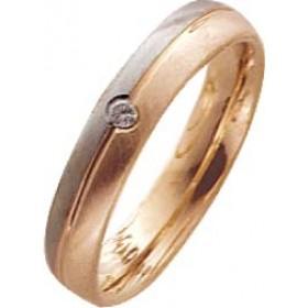Trauring in Weißgold 750/- / Rotgold 750/-, mit echtem Brillanten 0,03ct W/SI, Breite 4,0mm, Stärke 1,6mm. Die Gravur der Trauringe sowie das Etui erhalten Sie kostenlos dazu und bei diesen einfarbigen Trauringen - Eheringen ist auch der kostenlose Auffri