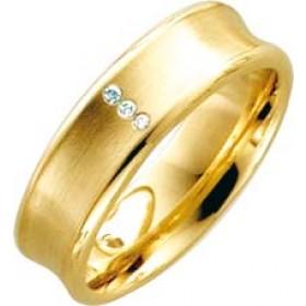Trauring Ehering Gelbgold 8k 333 3 Brillanten 0,015ct W/SI