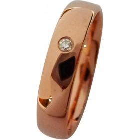 Trauring/Ehering in Rotgold 750/- mit einem Brillant