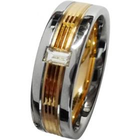 Trauring/Ehering/Hochzeitring in Platin 600 und Rosegold 585/- mit einem Baguette Diamant