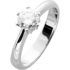 Solitär Ring Verlobungsring Weißgold 585/- 1 Brillant 0,79ct W / VVSI