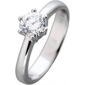 Solitär Diamantring 1,04ct TW+ F / VVS2 GIA zertifiziert Brillantschliff Weißgold Schiene 585