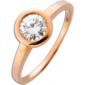Solitär Ring Verlobungsring Roségold 585 Brillant 0,66ct TW / VSI