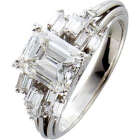 Diamantring Weißgold 750 Emerald Cut 2 Carat und weiteren Diamanten