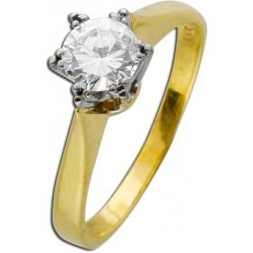 Ring - Solitärring Gelbgold Weißgold 585 1 Brillant 0,70ct River-TW/VVSI mit IGI Zertifikat