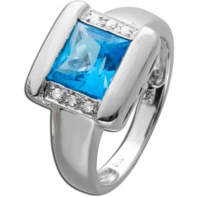 Brillant Ring Weißgold 750 Blautopas 6 Brillanten Damenring