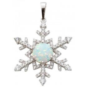 Silberanhänger Sterling Silber 925 synth Opal Zirkonia Schneeflocke