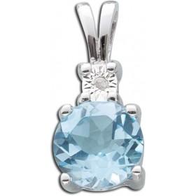 Anhänger Sterling Silber 925 Blautopas Diamant