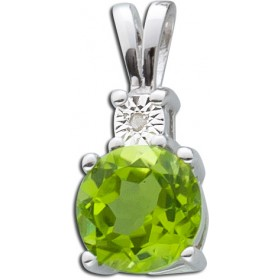 Anhänger Sterling Silber 925 Peridot Diamant